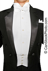 male tuxedo over white