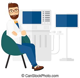 Male ultrasound specialist with ultrasonic equipment vector flat design illustration isolated on white background. Square layout.