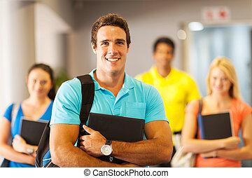 male university student and classmates