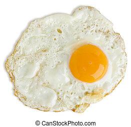 male, uovo fritto, isolato, bianco, con, uno, percorso tagliente
