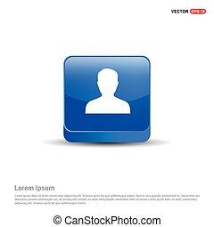 Male User Icon - 3d Blue Button