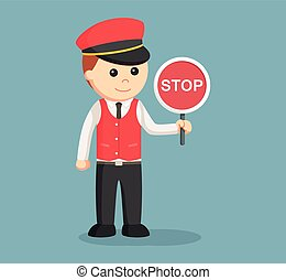 male valet with stop sign