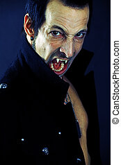 Male vampire - Photo of a male vampire with mouth open and...