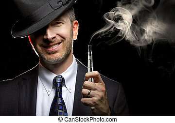 Male Vaping with E-Cigarette - male smoking a vapor ...