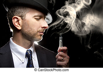 Male Vaping with E-Cigarette