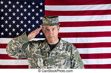 Male veteran solider saluting with USA flag in background