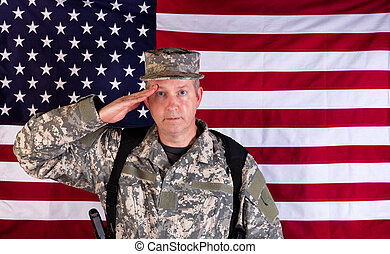 Male veteran solider saluting with USA flag in background while under arms