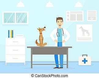 Male Veterinarian Doctor Examining Dog on Table in Vet Clinic, Professional Veterinary Consultation Concept Flat Vector Illustration