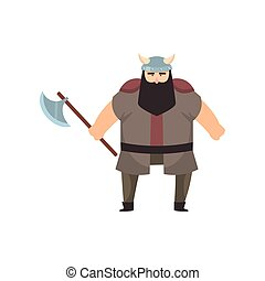 Male viking with strong physique and bellicose air stands holding battle-axe over white background