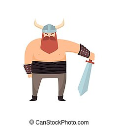 Male viking with strong physique and bellicose air stands holding sword over white background