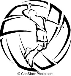 Illustration of a male volleyball player in front of stylized volleyball.