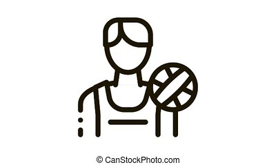 Male Volleyball Player Icon Animation. black Male Volleyball Player animated icon on white background