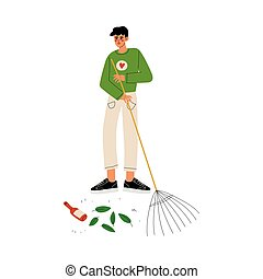 Male Volunteer Gathering Garbage and Leaves on Street Using Rake, Volunteering, Ecological Lifestyle Vector Illustration