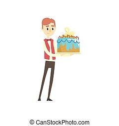Male waiter holding festive cake with swan cartoon vector Illustration