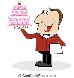 male waiter with cake