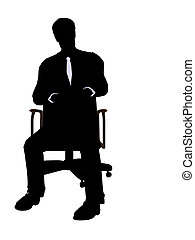 Male Wearing A Business Suit Sitting In A Chair Silhouette -...