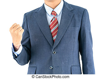 Male wearing blue in suit reaching hand out with clipping path