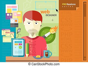 Male web designer with tablet on workplace