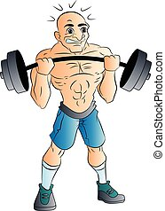 Male Weightlifter, illustration - Bald Male Weightlifter,...