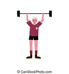 Male Weightlifter Rising Barbell, Active Sport Healthy Lifestyle Vector Illustration