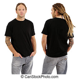 Male with blank black shirt and dreadlocks - Photo of a male...
