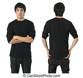 Male with blank black shirt - Young asian male with blank...