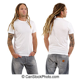 Male with blank white shirt and dreadlocks