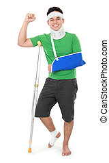 male with broken arm and crutch - Full length portrait of a...