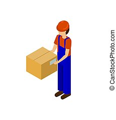 Male with Cardboard Parcel Production Line Worker