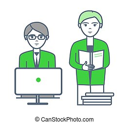 Male with Employee Working on Projects Vector