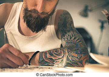 Male with image on arm drawing art