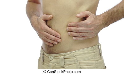 Male With Ulcer Pain Isolated on Wh - Anonymous man isolated...