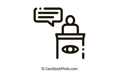 Male Witness Law And Judgement animated black icon on white background
