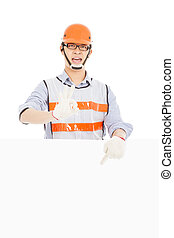 Male worker  make ok gesture with white board