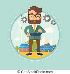 Male worker of solar power plant and wind farm.