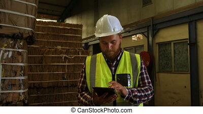 Male worker using digital tablet 4k - Male worker using...