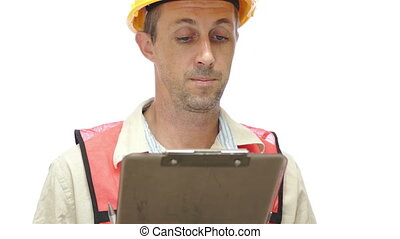 Male Worker With Clipboard Rubbing - Male worker dressed in...