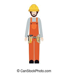 male worker with toolkit and beard