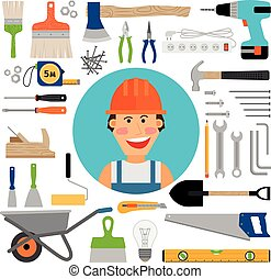 Male worker with working and construction tools
