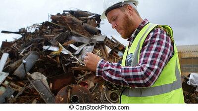 Male worker writing on clipboard 4k - Male worker writing on...