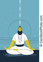 Male yogi with beard sits cross legged and meditates against abstract blue background with lines and circle. Concept of mental wellness and spiritual growth. Vector illustration for website, banner