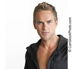 Male - Young attractive healthy man against white background...