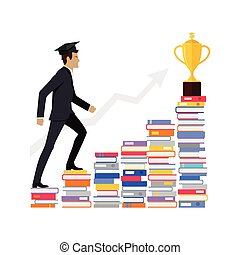 Male Young Businessman Going Upstairs on Books. -...