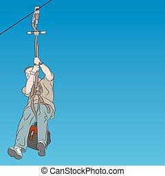 Male zip line rider parent