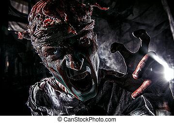 male zombie shouting