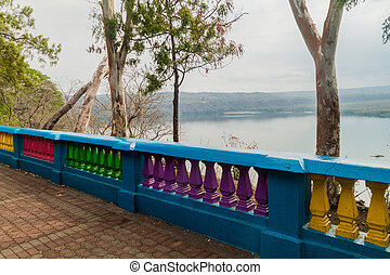 Malecon, embankment or esplanade along a waterfront of Laguna de Masaya lake in Masaya, Nicarag