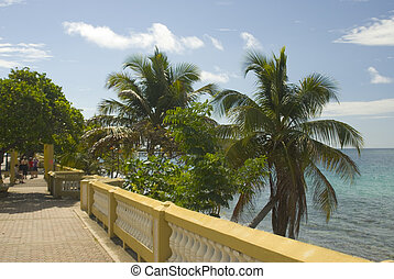 seaside promenade caribean island