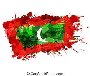 malediven, kleurrijke, vlag, gemaakt, republiek, plonsen