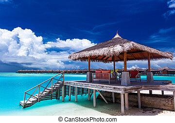malediwy, wyspa, molo, tropikalny, kroki, łódka
