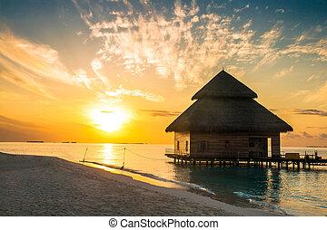 malediwy, wyspa, woda, uciekanie się, zachód słońca, wille